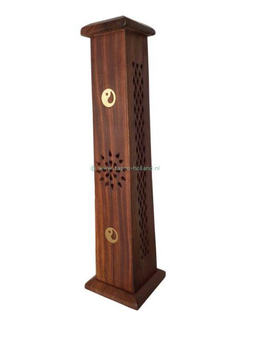 Incenseburner Tower wood 8x8x31 cm