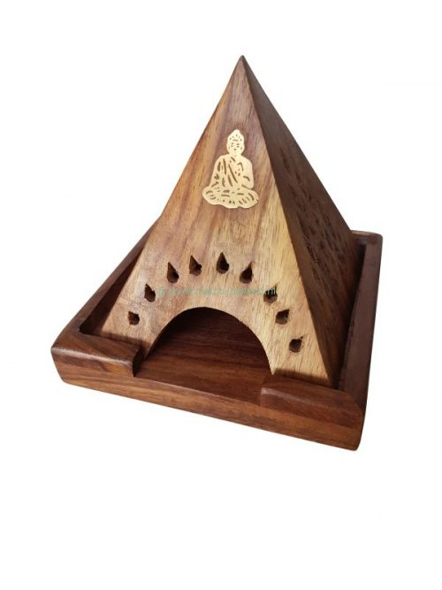 Wierookbrander pyramide hout 10x10x11 cm