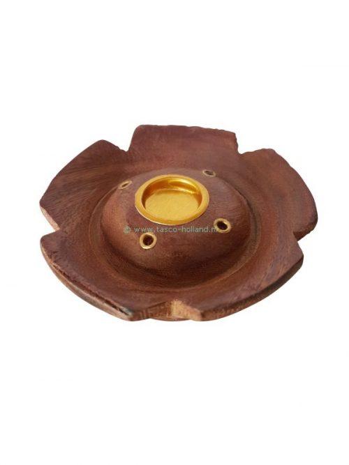 Incenseburner round wood 7x7x2.5 cm