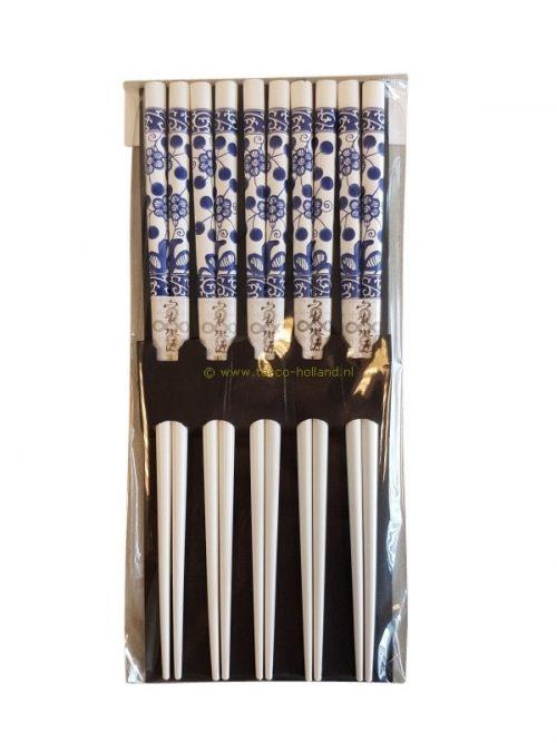set/5pr Chopsticks blue/white 22.5x10x1 cm