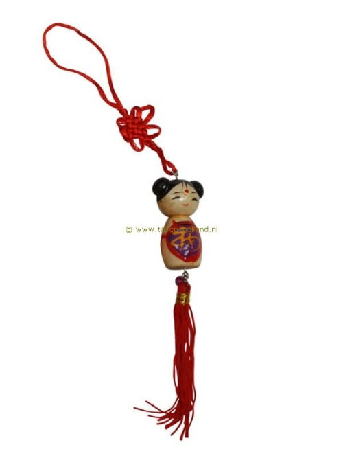 Gelukspoppetje Chinees meisje hout 5x2,5 cm