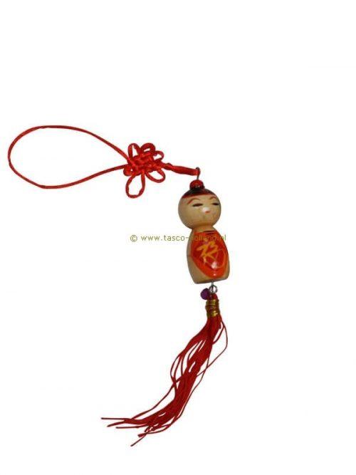 Gelukspoppetje Chinese jongen hout 5x2,5 cm