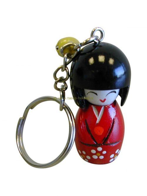 Japanse kokeshi sleutelhanger 4x1,5 cm