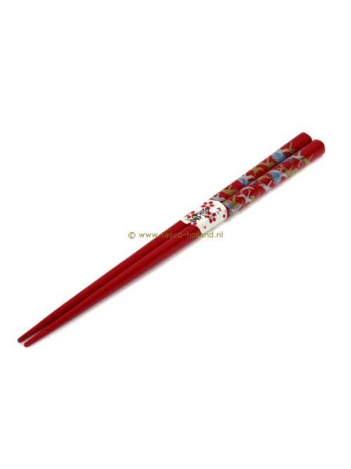 pair Chopsticks crane red 22.5 cm