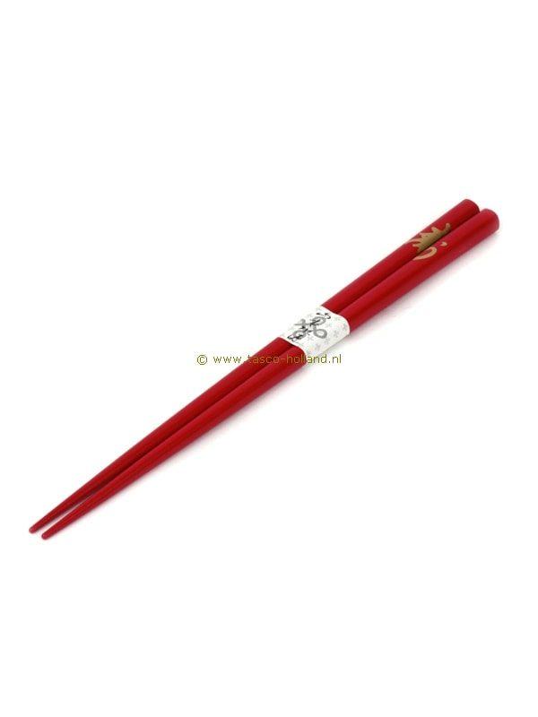 paar Eetstokjes rood/goud character 22,5 cm