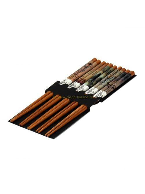set/5pr Chopsticks chinese scenery 22.5x10x1 cm