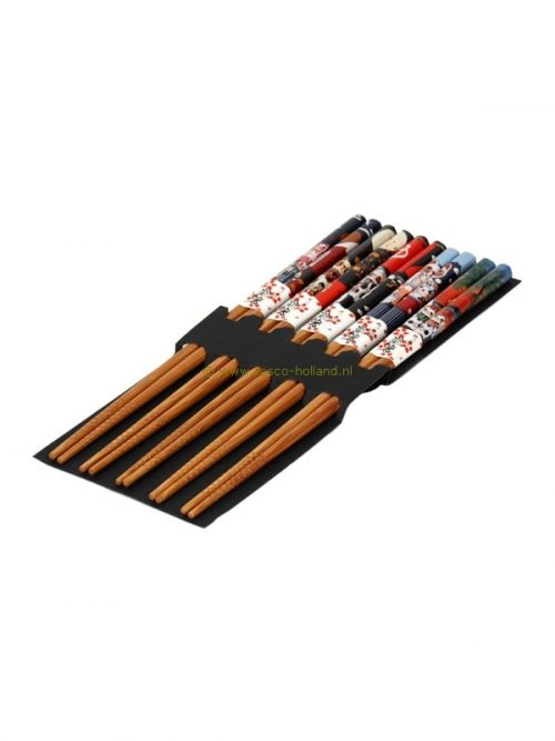 set/5pr Chopsticks lucky cat colored 22.5x10x1 cm