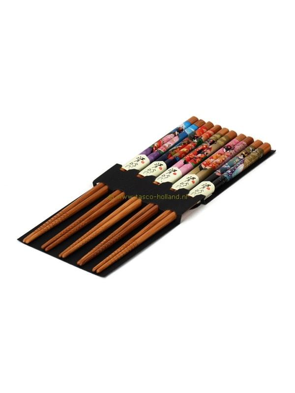 set/5pr Eetstokjes geisha kleur 22,5 cm