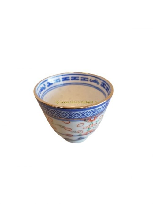 Cup blue gold ricepattern 5 cm
