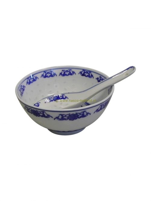 Bowl/spoon blue/white ricepattern 11cm