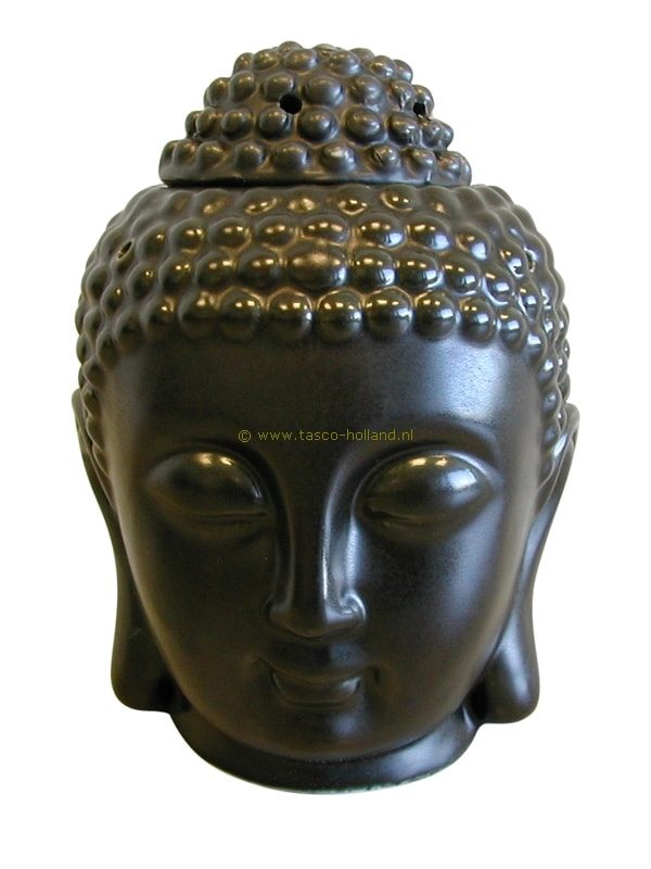 Oliebrander porcelein hoofd zwart 10x13 cm
