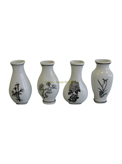 set/4 Vases black design porcelain 10cm