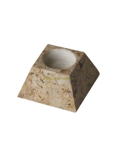 Waxinehouder pyramide fossiel 8 cm