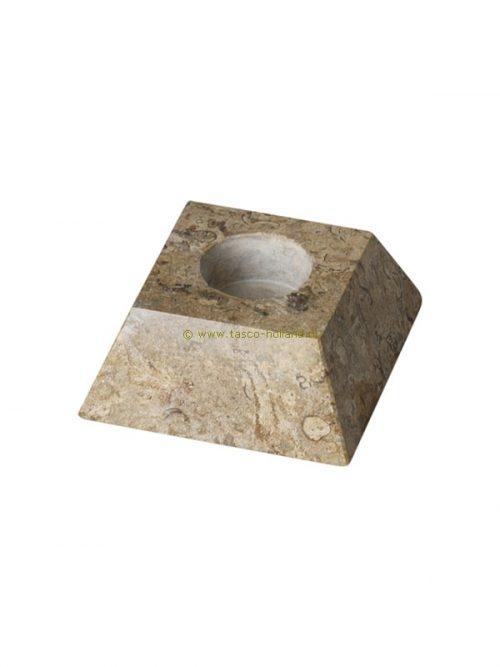 Waxinehouder pyramide fossiel 10 cm