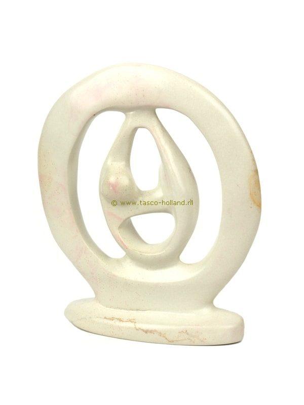 Kisii steen beeldje Dansers in ring 15 cm