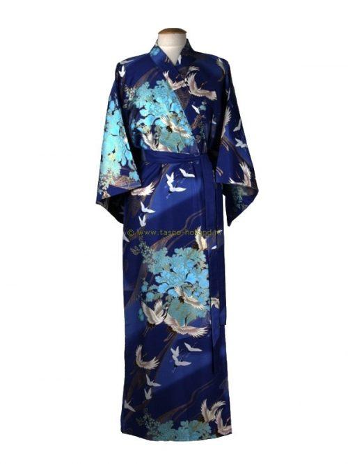 Kimono kraanvogel polyester (078) blauw