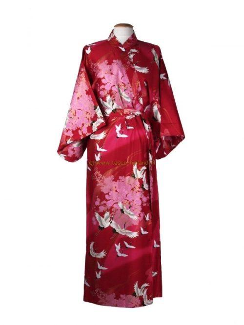 Kimono kraanvogel polyester (078) rood