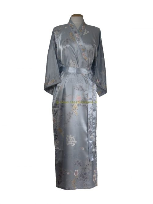 Kimono bloem polyester (080) blauw