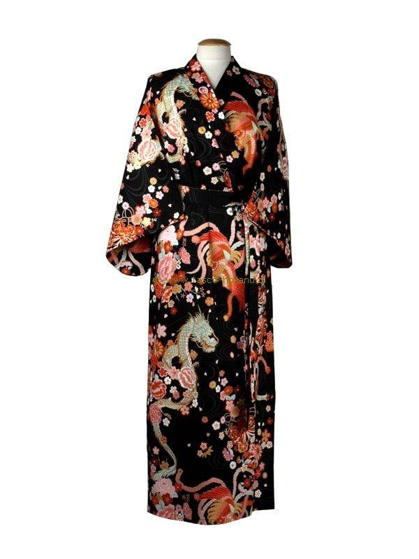 Kimono draak+phoenix katoen (540) zwart