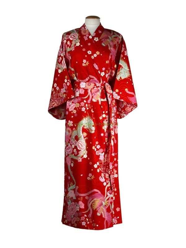 Kimono draak+phoenix katoen (540) rood