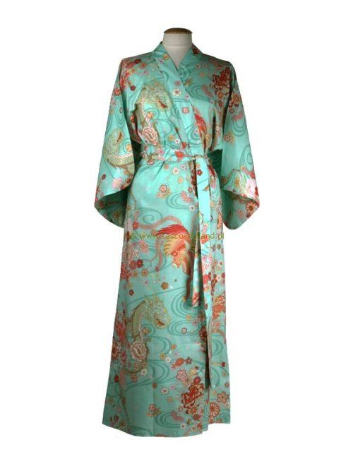 Kimono draak+phoenix katoen (540) groen
