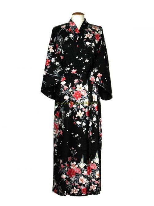 Kimono bloemen katoen (541) zwart