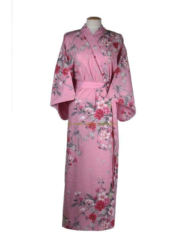 Kimono bloemen katoen (541) roze