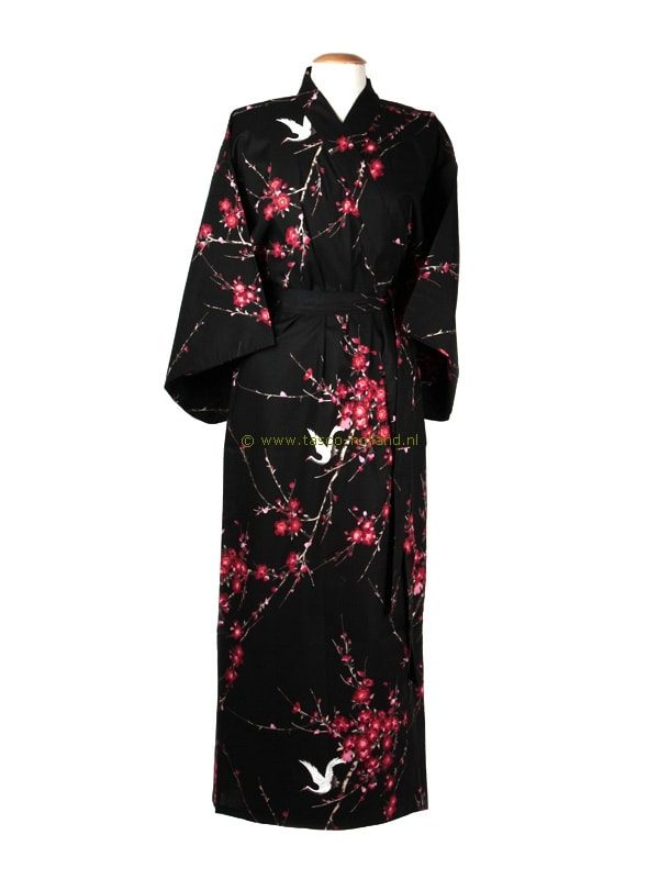 Kimono kersenbloesem katoen (547) zwart
