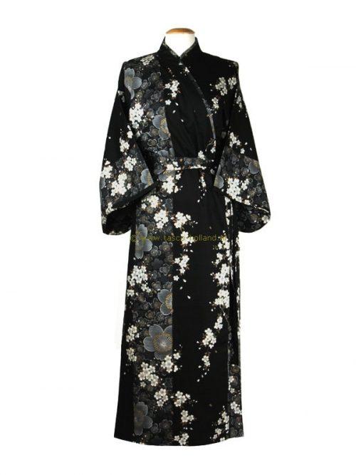 "Kimono cotton 55"" cherry blossoms (561) black"