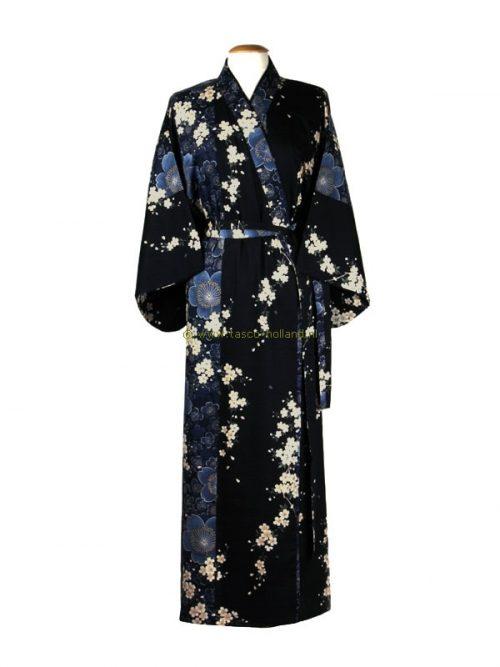 Kimono kersenbloesems katoen (561) navy blauw