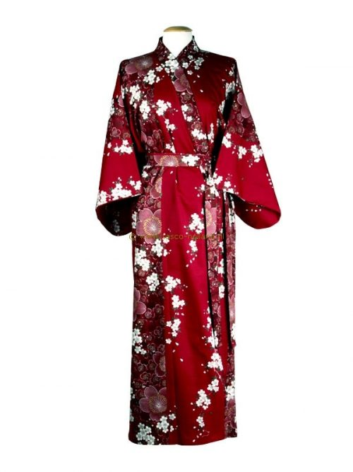 "Kimono cotton 55"" cherry blossoms (561) red"