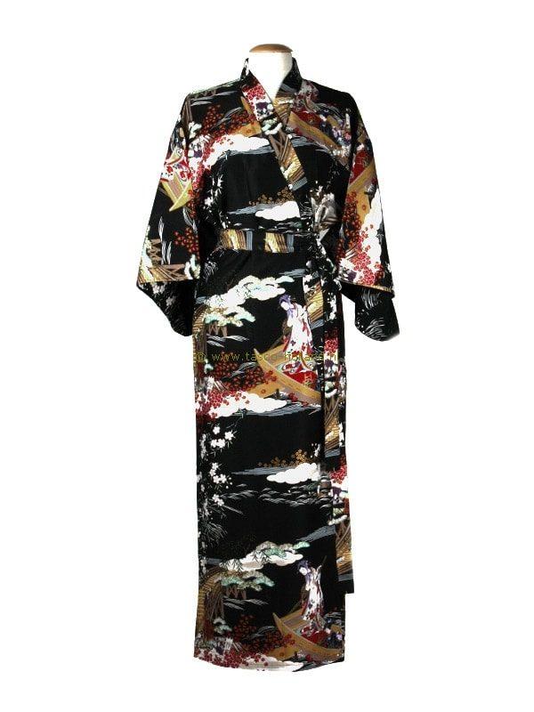 Kimono ukiyoe katoen (593) zwart