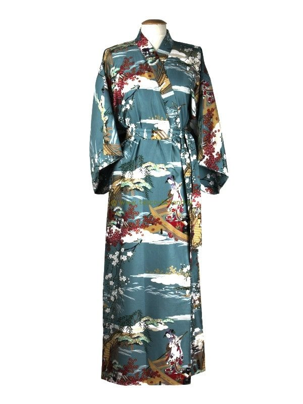 Kimono ukiyoe katoen (593) blauw