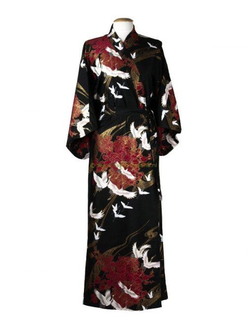 Kimono kraanvogel katoen (594) zwart