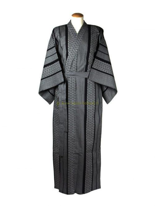 "Yukata Baumwolle 59"" geometric (533) navy blau"