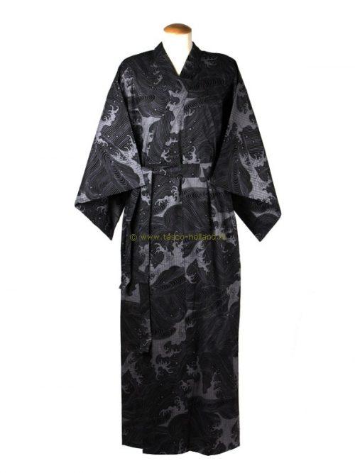 "Yukata cotton 59"" wave (512) black"