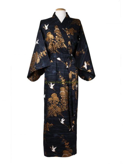 Kimono kraanvogel katoen (538) blauw