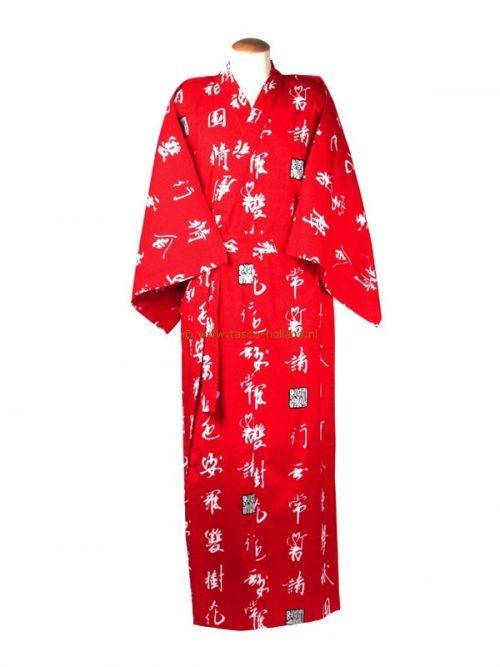"Yukata cotton 59"" characters (544) red"