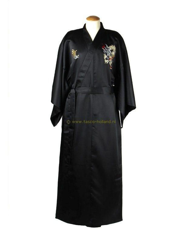 Kimono draak polyester (036) zwart