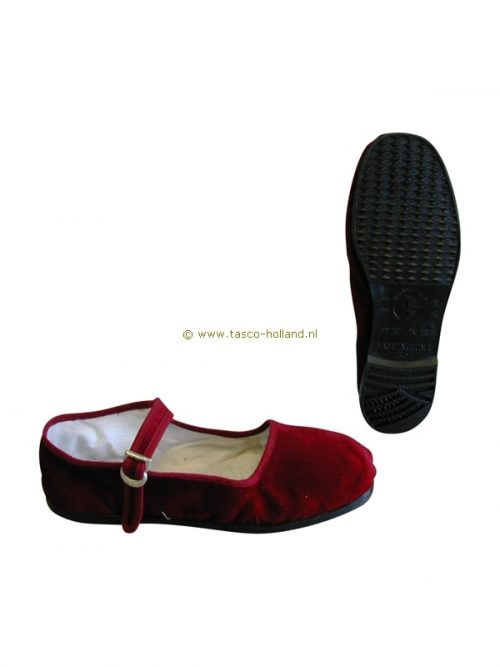 pair Shoes woman red velvet/black pvc sole
