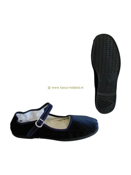 pair Shoes woman blue velvet/black pvc sole
