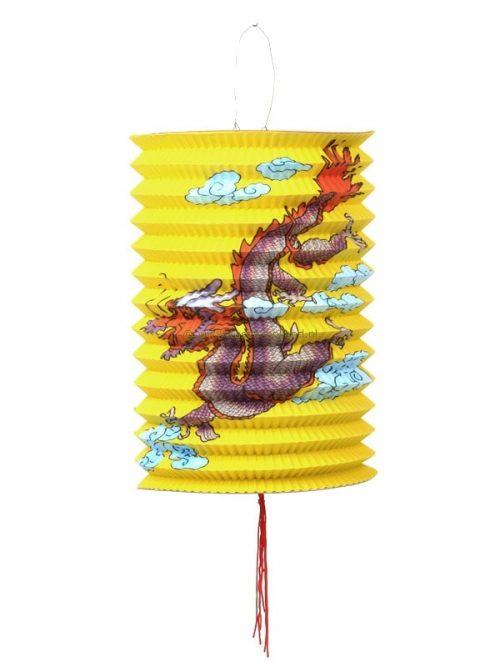 Lampion lang draak papier geel 21x15 cm