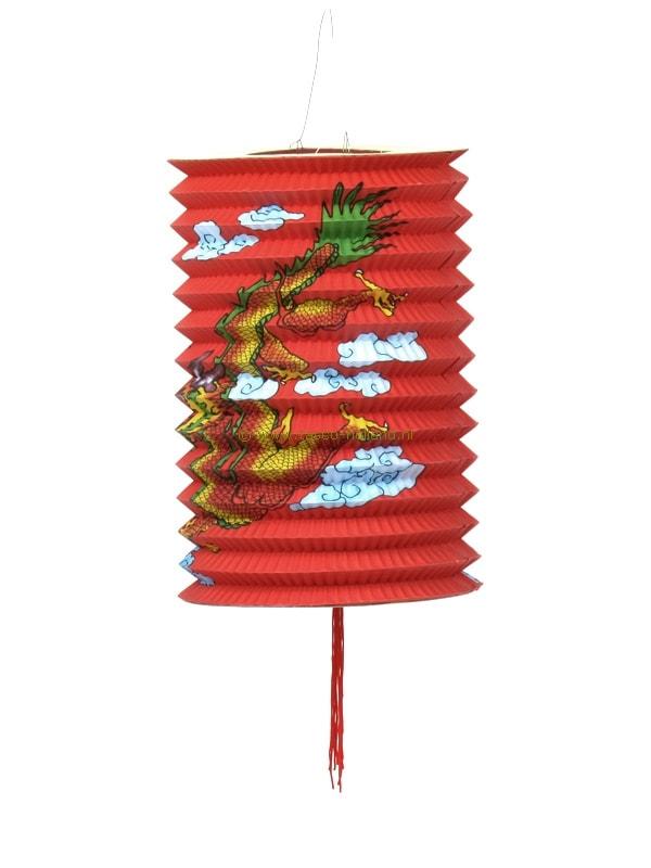 Lampion lang draak papier rood 21x15 cm