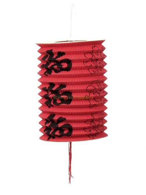Lampion lang tekens rood papier 21x15 cm