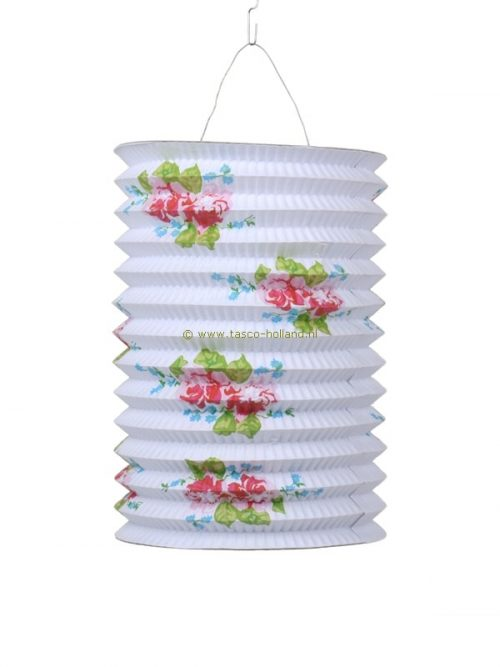 Lampion lang roos wit papier 21x15 cm