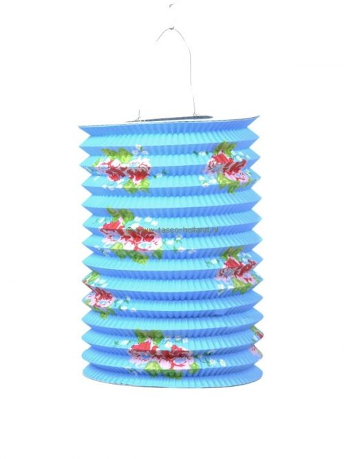 Lampion lang roos licht blauw papier 21x15 cm