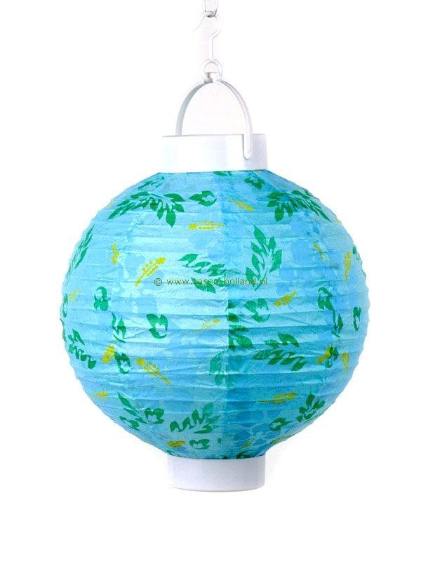 Batterijlamp papier turquoise/bloem 20 cm