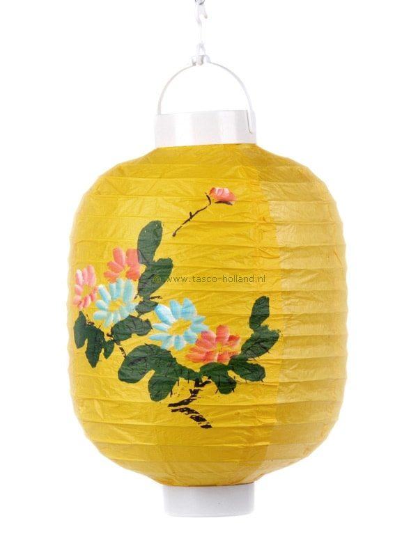 Batterijlamp papier geel/bloem 20x24 cm