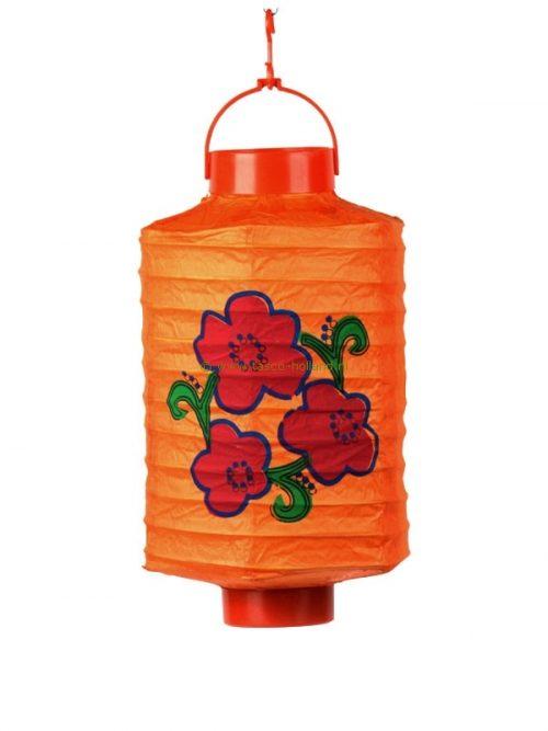 Batterijlamp papier oranje/bloem 20x24 cm