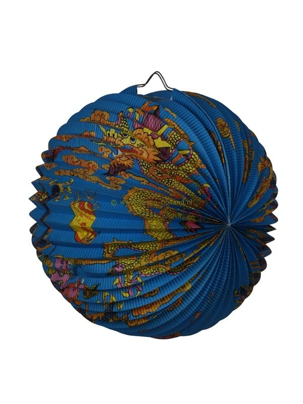 Lampion blauw met draak 30 cm